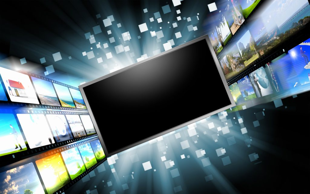 Tela LCD ao centro, com uma série de imagens em seu entorno