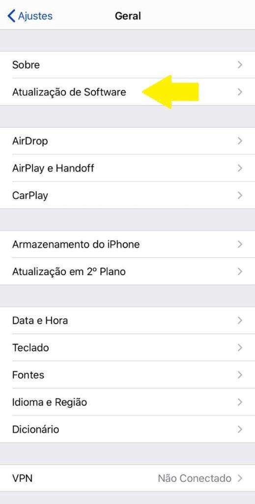 Nesta tela, você poderá fazer as configurações gerais do seu dispositivo