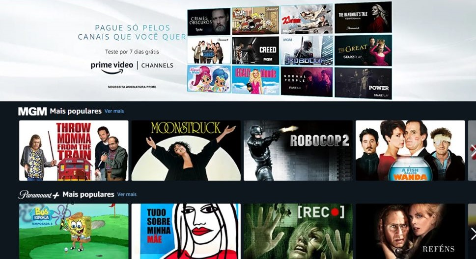 Imagem da interface do amazon prime channels no prime video