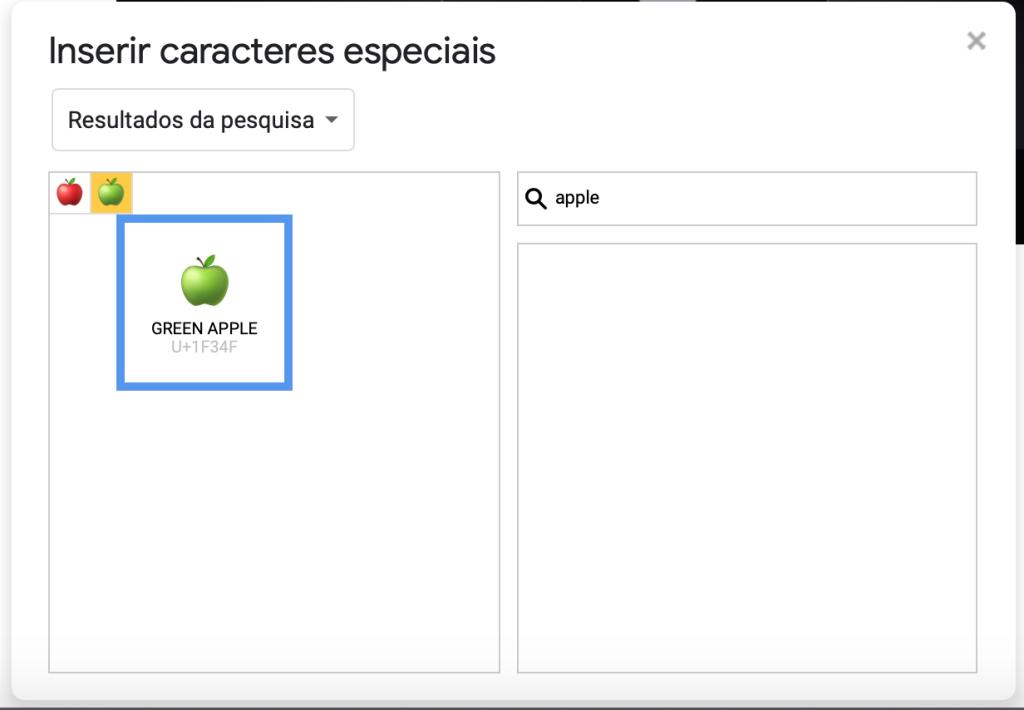 Captura de tela do quadro Caracteres especiais do Google Docs. À esquerda, o símbolo de uma maçã verde em destaque. À direita, a caixa de busca com a palavra apple.