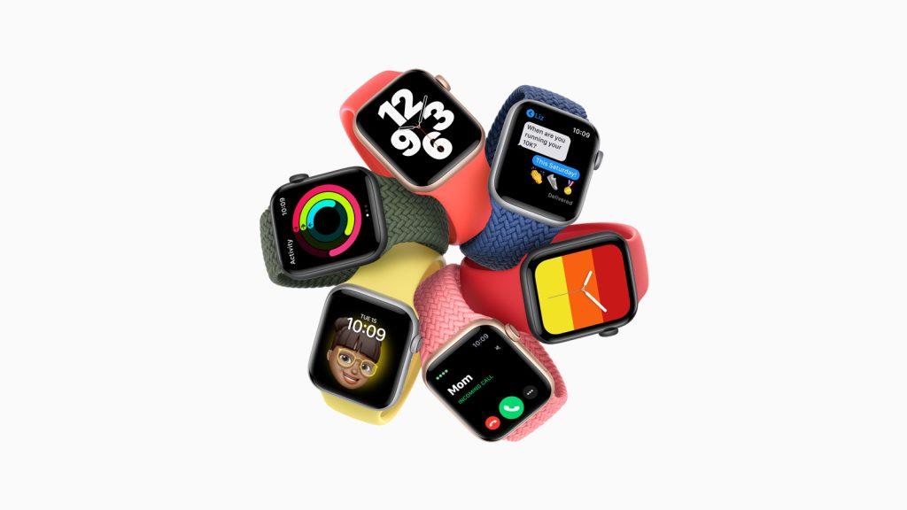 Imagem de vários modelos do apple watch se