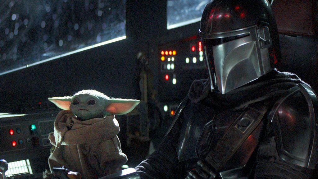 Baby Yoda, a The Chil e o mandaloriano em sua nava
