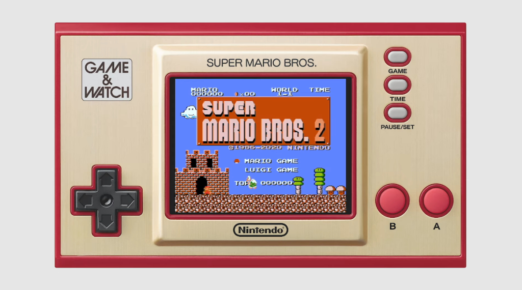 Game and watch temático do super mario, uma espécie de console portátil com jogos da franquia