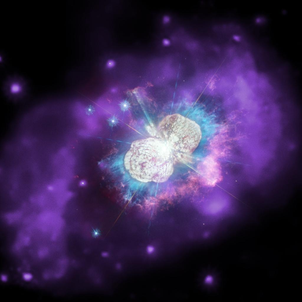 Eta carinae. Duas estrelas gigantescas que orbitam entre si.