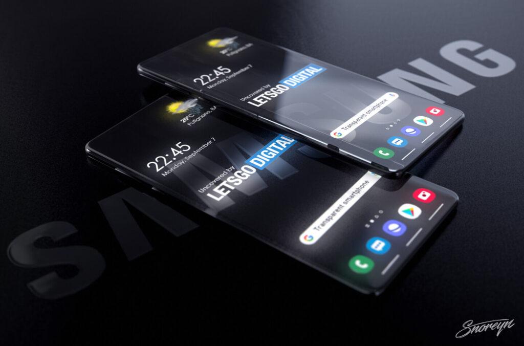 Render em 3D de 2 smartphones Galaxy Samsung transparente com ícones e relógio. Um aparelho está sobre o outro, em cima de uma superfície com o logo da Samsung.
