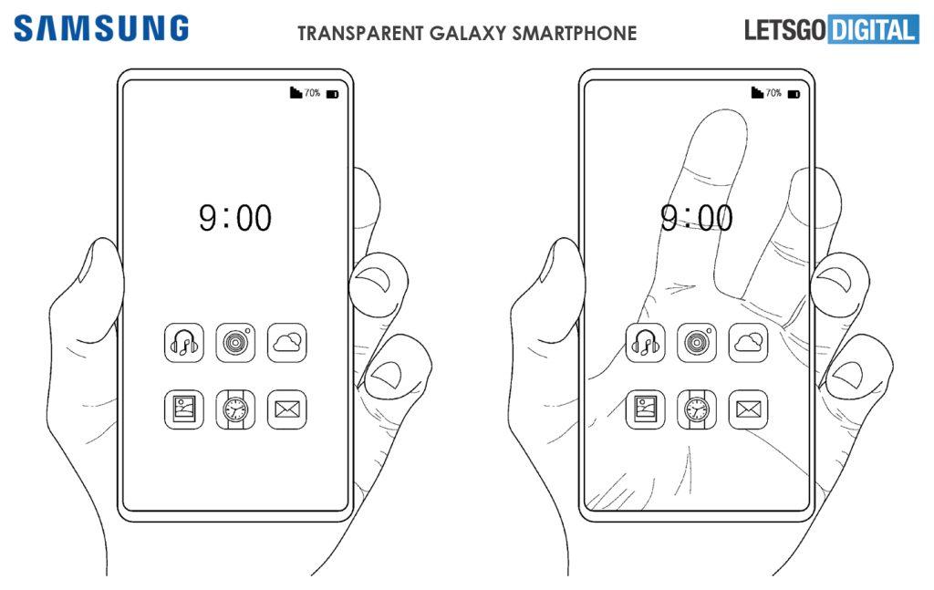 Desenho de duas mãos, lado a lado, cada uma segunrando um Smartphone Galaxy Transparente da Samsung.