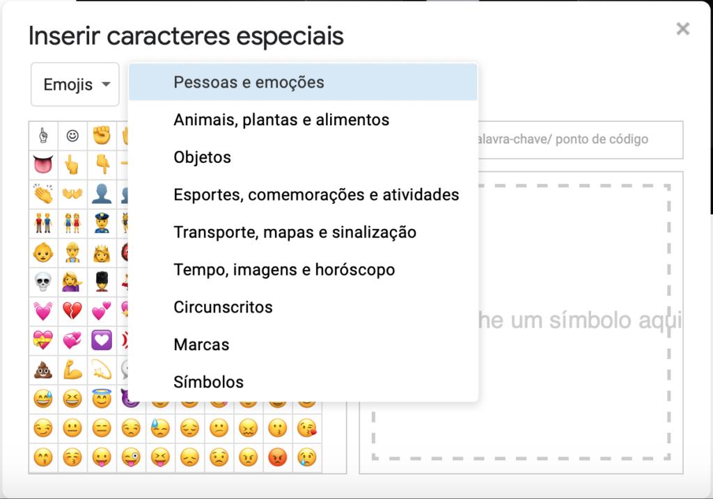 Captura de tela da janela Inserir caracteres especiais. Menu da subcategoria aberto em destaque, à esquerda. À direita, categoria emojis. Abaixo, a área de visualização de símbolos mostra diversos emojis.