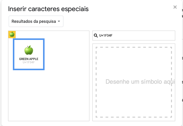 Captura de tela da janela Inserir caracteres especiais. No campo de busca, o código U+1F34F. À esquerda, o símbolo Green Apple em destaque.