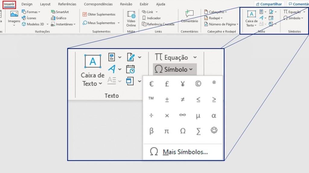 Captura de tela do menu inserir do Microsoft Word. Em destaque, o menu símbolos.