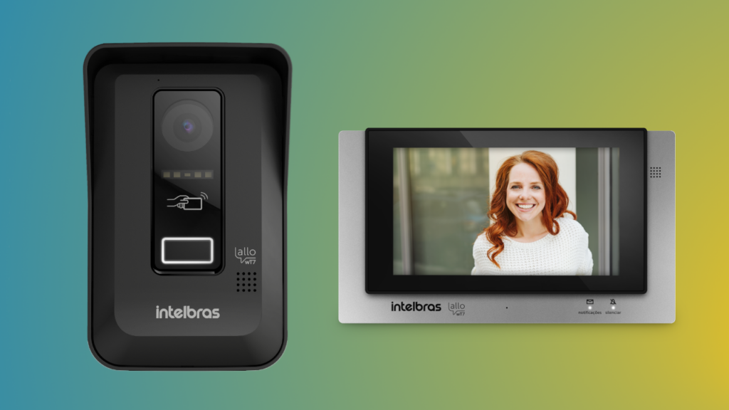 """O videoporteiro Allo wT7 da Intelbras conta com um monitor de 7"""" e uma tag para desbloqueio de portas"""
