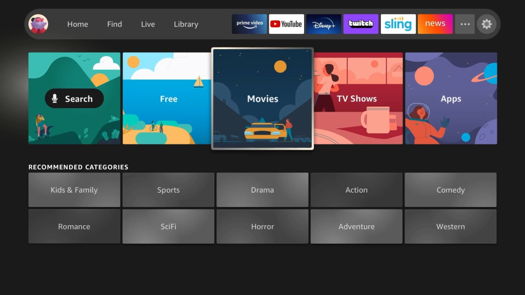 Nova interface da fire tv, lançada no evento da amazon