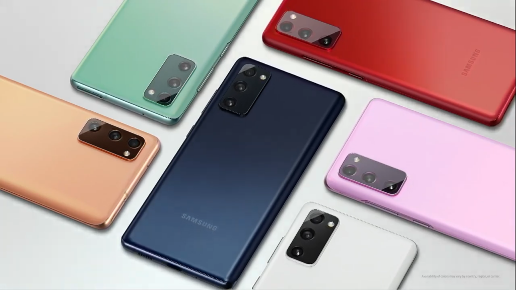 Foto de vários modelos do Galaxy S20 FE