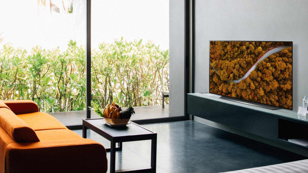LG CX tv 4K OLED divulgação, TV sobre rack