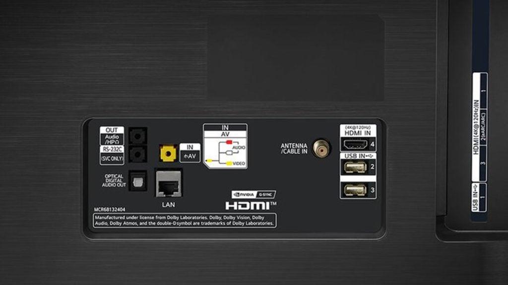 LG CX tv 4K OLED conexões HDMI