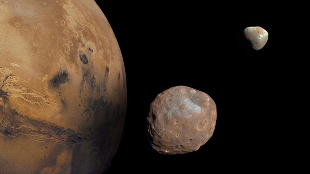 Marte e seus dois satélites naturais: Deimos e Fobos
