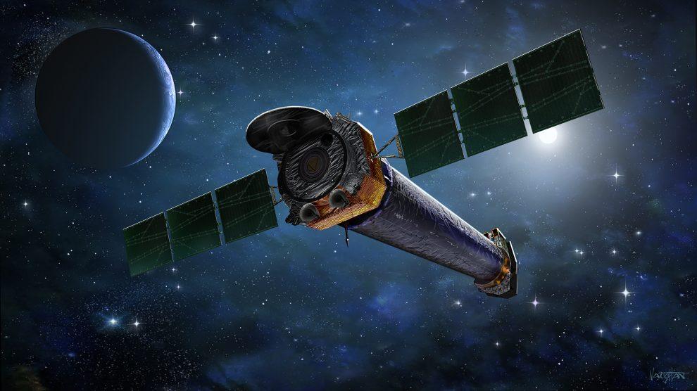 Observatório de raios x chandra no espaço, visto em perspectiva.