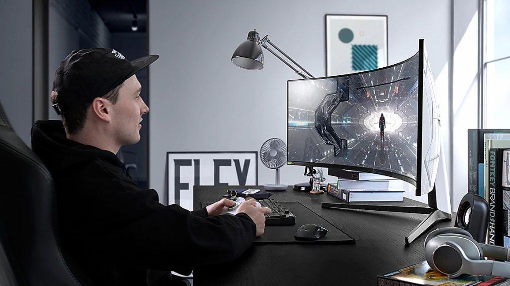 Foto do odyssey g9, um dos novos monitores gamers da samsung