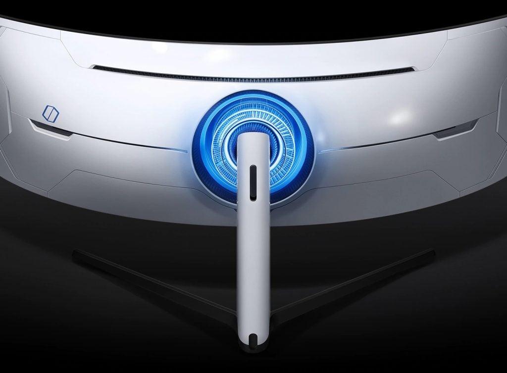 Foto da parte traseira do odyssey g9, um dos novos monitores gamers da samsung