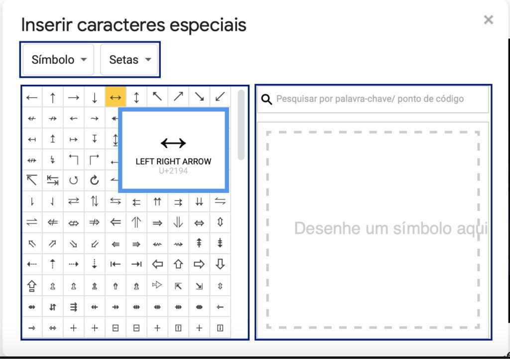 Captura de tela da janela Inserir caracteres especiais no Google Docs. Na parte superior, à esquerda, os menus de categoria e subcategoria. Logo abaixo, um quadrado com vários símbolos, onde é possível visualizar símbolos e caracteres especiais. À direita e ao lado, uma caixa de busca e logo abaixo, um quadrado branco com a frase Desenhe um símbolo.