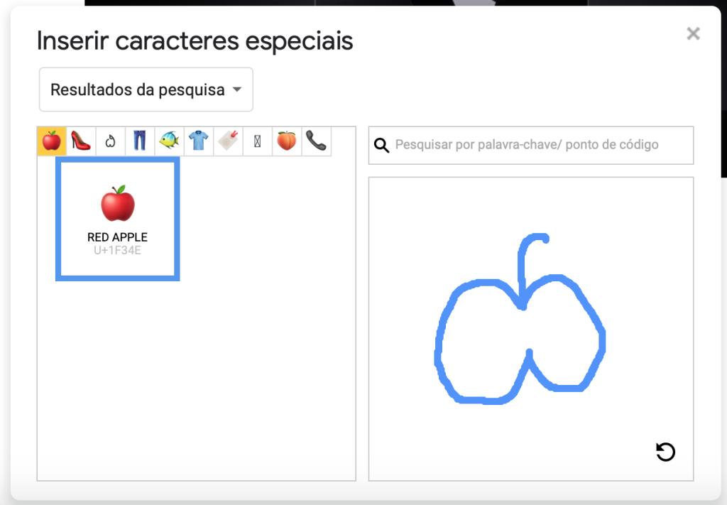 Captura de tela do quadro Caracteres especiais no Google Docs. À esquerda, a caixa de busca filtra resultados de símbolos correspondentes ao desenho de maçã feito no espaço em branco à direita.