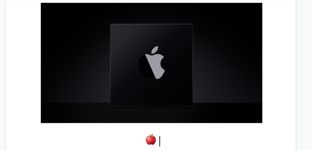 Captura de tela de recorte de um documento no Google Docs. Na parte superior, ao centro, a foto do Apple Silicon em preto e logo da Apple. Logo abaixo, na margem esquerda da página, o símbolo de uma maçã.