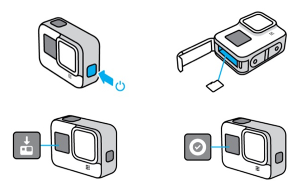 Ilustração indicando procedimento para instalação da atualização na câmera GoPro.