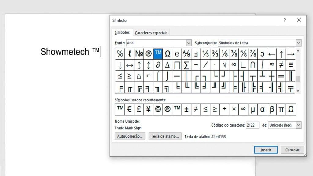 Captura de um documento do Microsoft Word com a janela Símbolos em destaque.