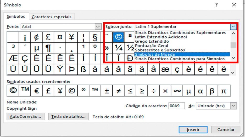 Captura de tela da janela Símbolos no Microsoft Word. Em destaque, a caixa de seleção subconjunto.