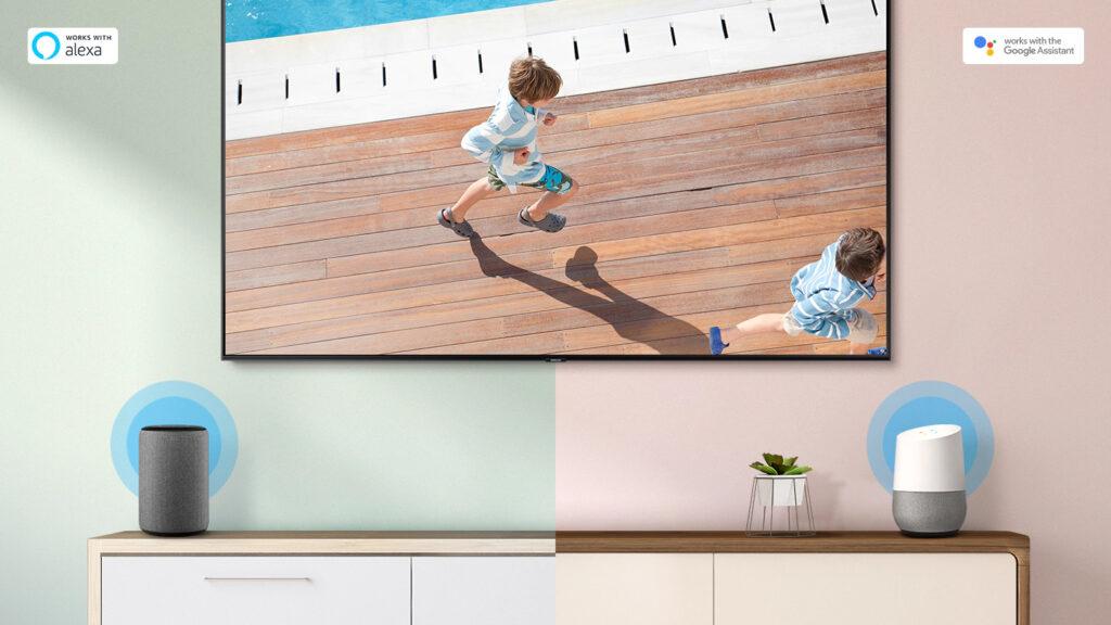 A samsung possui smart tvs compatíveis com o bixby, google assistente ou amazon alexa