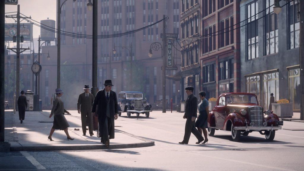 Pessoas andando e carros na rua de Lost Heaven.