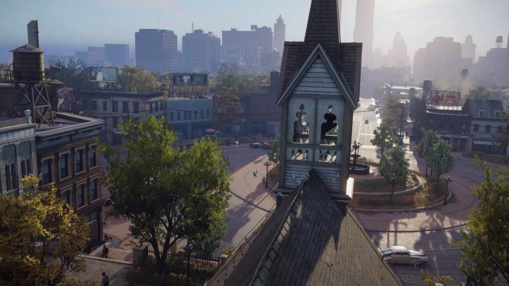 Imagem aérea com uma igreja em primeiro plano.