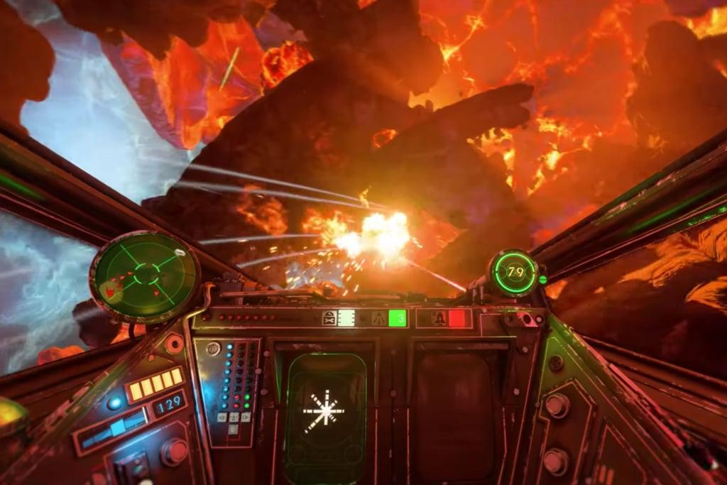 Voando com as naves em campos de asteróides