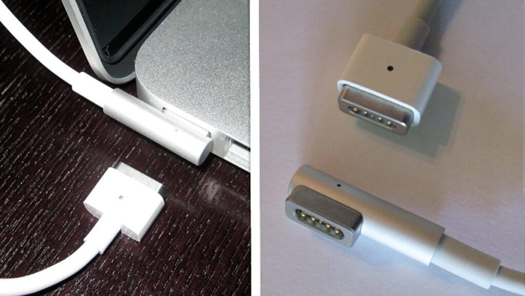 Carregadores originais do MacBook Pro chamados de MagSafe, mesmo nome do conjunto novo de imãs do iPhone 12