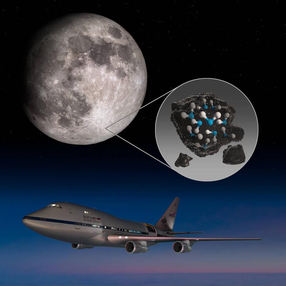 Telescópio sofia em um avião ao detectar água na lua