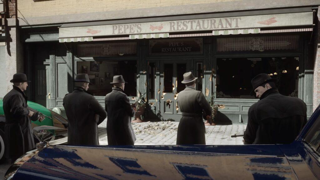Mafiosos abrem fogo contra um estabelecimento.