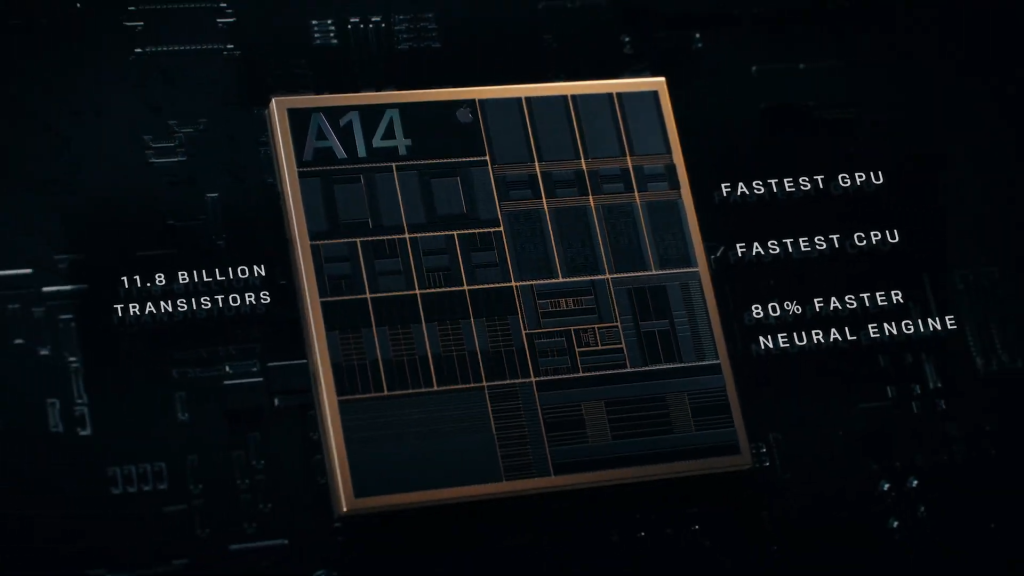 Imagem do chip a14 bionic do iphone 12