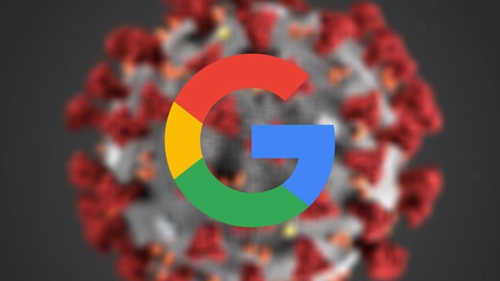 Montagem do logo do Google em cima do novo coronavírus