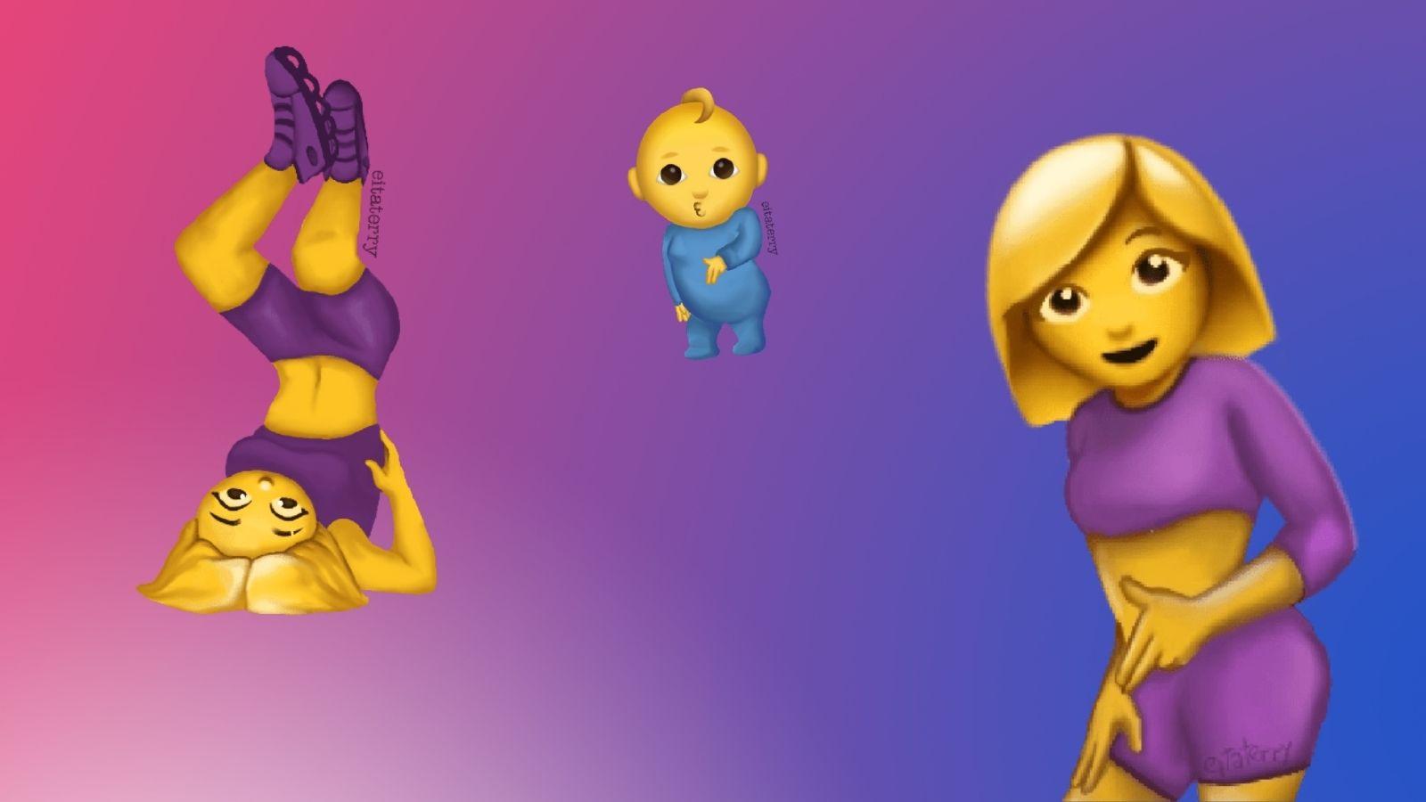 Montagem com figurinhas da pose de maloqueira