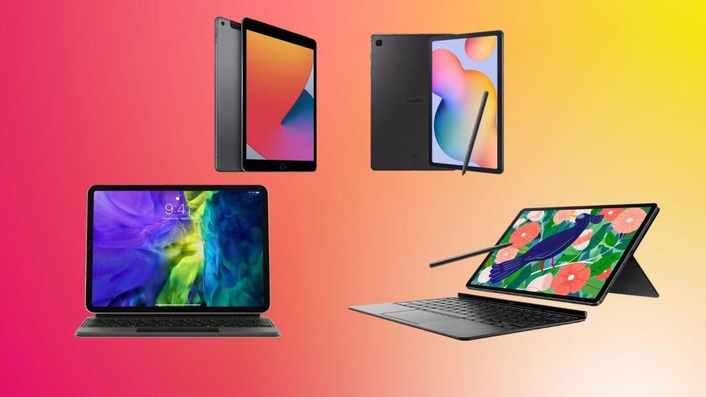 Montagem com tablets da Apple e da Samsung para comprar na Black Friday 2020