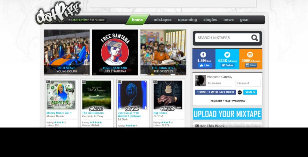 Datpiff, site para amantes do rap e do hiphop que queiram baixar músicas de graça