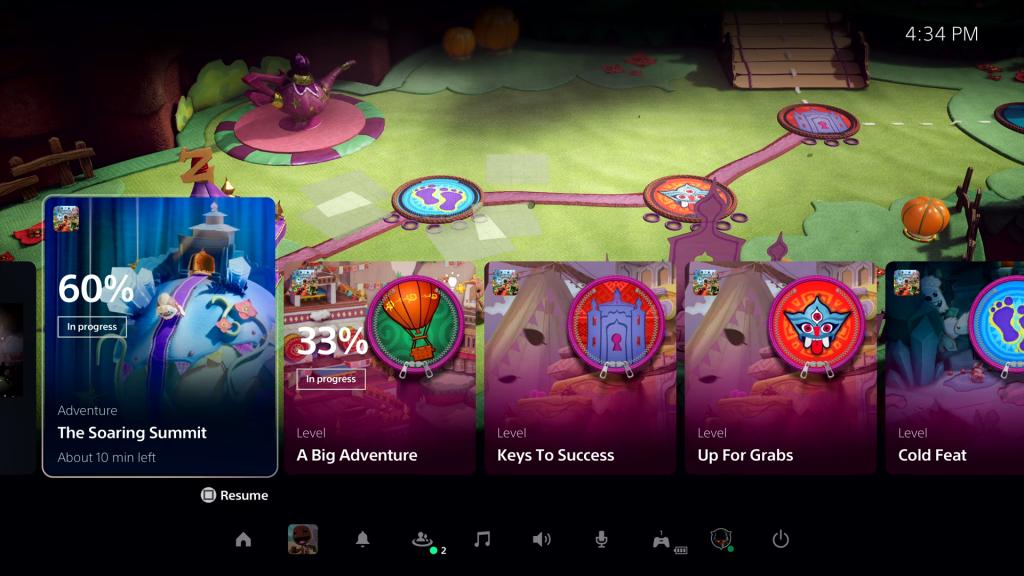 A interface do PS5 possui blocos chamados de cards para ajudar o jogador
