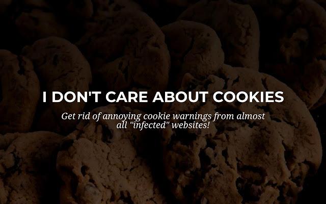 Uma das extensões gratuitas é o i don't care about cookies em imagem ilustrativa disponível pelo google chrome