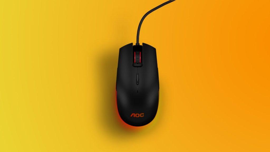 Parte de cima do mouse gm500 da linha gamer da aoc