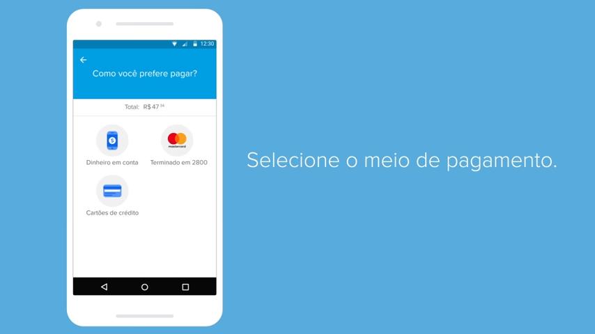 Screenshot da tela do mercado pago mostrando como selecionar o meio de pagamento