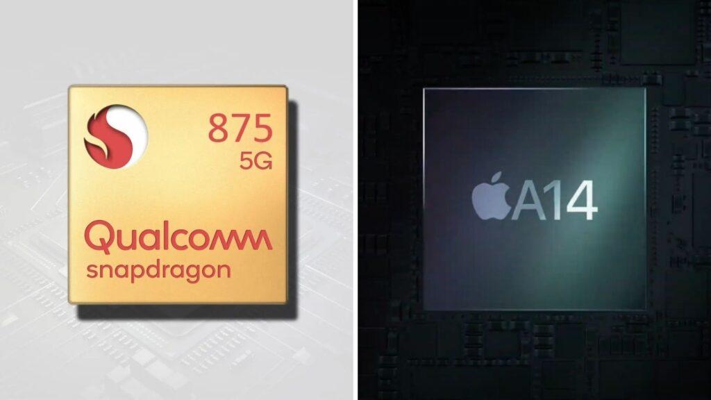 Montagem com processadores a14 bionic e snapdragon 875, que deve ser lançado no qualcomm tech summit 2020