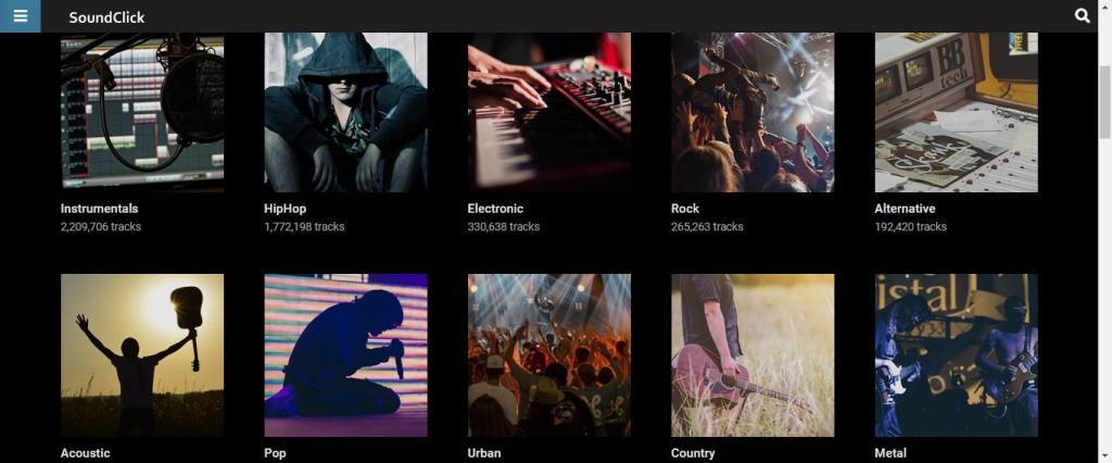 Site do Soundclick, um dos mais antigos sites para baixar músicas de artistas independentes na internet