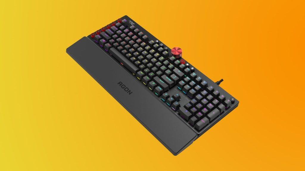 Parte de cima do teclado agk700 da linha gamer da aoc
