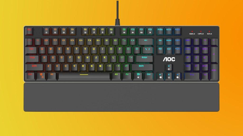 Parte de cima do teclado gk500 da linha gamer da aoc
