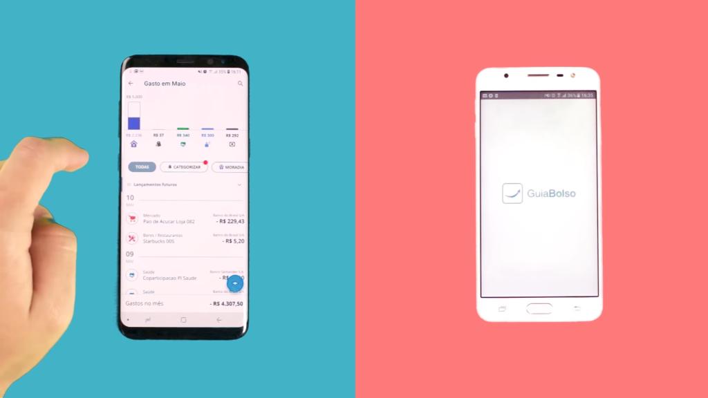 Duas imagens do aplicativo de finanças guiabolso, uma mostrando o logo do aplicativo e a outra o design intuitivo.