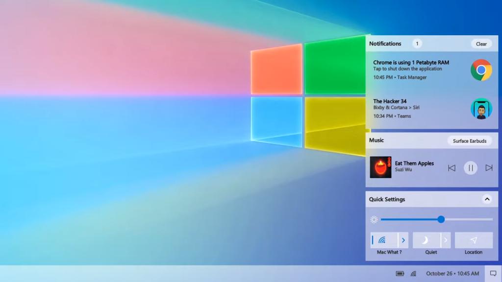 Imagem da Central de Ações no Windows 10 2021